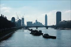 Hazy River (Mabacam) Tags: bridge london thames buildings river boats skyscrapers riverthames westminsterbridge 2016