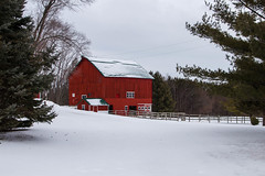 Red In The Snow (Images by MK) Tags: trees winter red snow wisconsin barn rural fence countryside outdoor snowy farm pines wi redbarn farmstead