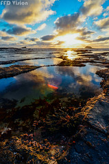 Golden blue 炽热之蓝 (Mr F Ding) Tags: sunset newzealand seascape reflection water nikon maoribay 1224f4