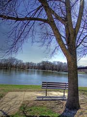 Waiting (kendoman26) Tags: tree bench fuji hdr fujifinepix illinoisriver photomatix enjoyillinois travelillinois fujifinepixs1