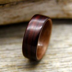 Indian Rosewood and Walnut (stoutwoodworks) Tags: wood wedding water one wooden engagement natural bend handmade indian grain walnut band craft jewelry steam ring kind rings strong handcrafted steamed bent alternative lining stout ecofriendly rosewood lined durable 7mm woodworks bentwood