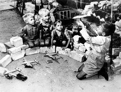 "Berlin Airlift - youngsters who live near the Tempelhof Air Force Base, where the U.S. Air Force transport planes unload their airlift supplies, play at a game called ""Luftbrucke"" (air bridge), 1948 [3150 x 2400] #HistoryPorn #history #retro http://ift.tt (Histolines) Tags: bridge game berlin history 1948 us play force near who live air transport x retro where planes timeline their supplies base called tempelhof unload youngsters airlift 2400 vinatage 3150 luftbrucke historyporn histolines httpifttt1q2eojq"