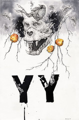 YY -2016 (Ryan Samuel Carr) Tags: portrait black bird apple illustration pencil ink death skull drawing branches teeth text picture wash lettering limbs draw mummy chameleon fetal crosshatching stippling