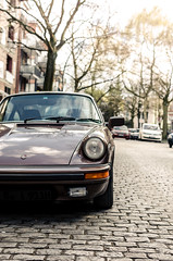 Classic Porsche // Hamburg (//Sebastian) Tags: street brown cold classic car hamburg 911 front cobbled cobblestone porsche oldtimer headlight 930