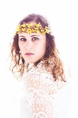 Spring (Alyssa Mort) Tags: flowers portrait people woman white selfportrait flower art girl face spring lace fineart indoor whitebackground crown alyssamortbacklight