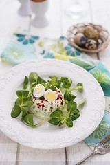Egg nest appetizer (vanilllaph) Tags: blue food white green cake vertical feast dinner menu festive easter recipe table lunch cookbook salad colorful dish nest eating egg tasty plate fork gourmet celebration delicious eat snack greens appetizer portion ornate celebrate culinary savory quail prepared