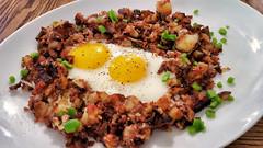 Mmm... corned beef hash (jeffreyw) Tags: potatoes eggs hash sunnysideup cornedbeef greenchilies