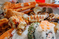 Assorted cooked food (Victor Wong (sfe-co2)) Tags: food fish japan closeup dinner sushi asian lunch cuisine japanese yummy dish rice background crab plate indoor fresh meat gourmet delicious meal diet cooked oriental orient eastern platter assortment culinary nutrition