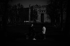 ...blackandwhite... (ines_maria) Tags: vienna wien park street light sunset people urban blackandwhite bw love couple noiretblanc candid streetphotography burggarten