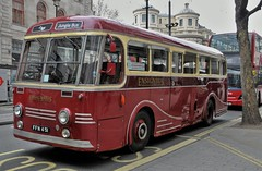 1951 Leyland Royal Tiger EnsignBus FFN 451 (standhisround) Tags: old uk bus london westminster vintage reflections coach maroon cream vehicle thestrand excursion 1951 leyland parkroyal ensignbus leylandroyaltiger ffn451 nationalcoaches