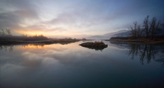 Waiting for sunrise on lake Cerknica (marko.erman) Tags: morning trees sky panorama mist lake water colors beautiful clouds sunrise reflections landscape sony horizon calm slovenia romantic serene slovenija jezero cerknica cerknikojezero