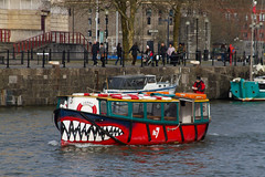 Bristol ferry with a smile (smir_001 (on/off)) Tags: winter red england tourism ferry river bristol boat canal interesting britain sightseeing colourful february attraction bristolharbour sharkteeth bristolferryboats