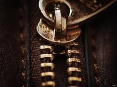 Detalle (candi...) Tags: detalle macro metal dorado cuero cremallera macrofotografa sonya77