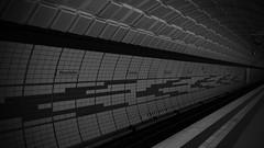 A Tunnel to Darkness (hanz11hanz) Tags: city blackandwhite monochrome station germany dark subway deutschland hamburg railway tunnel diagonal ubahn hh hansestadt messehallen tief