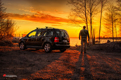"""piece of art"" (salas-3) Tags: sunset man art beautiful car silhouette yellow volkswagen landscape nikon view fineart story storytelling"