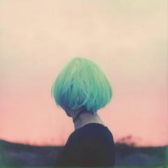 star dust (healingnoise) Tags: pink blue portrait analog polaroid sx70 aqua neon pastel magic dream cyan portraiture analogue psychedelic turqoise backportrait adiputra impossibleproject impossiblefilm healingnoise