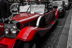 Tourist riders on the storm (momentums_peak) Tags: red car mercedes republic czech prague