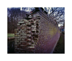 decaying wall (ha*voc) Tags: urban 120 film mediumformat bokeh rangefinder expired 80mm urbanfragments fujiprovia100 elswout mamiya7ii