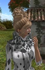 Jem at Cold Comfort Farm 4 (Jem Sternhall) Tags: flowers white black fashion farmhouse diamonds outside outdoors arte boots secondlife blonde byrne pxl glamorize lemonbeach zibska maxigossamer crownhair thesugargirl
