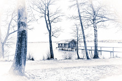 House at the lake - the white collection no.1 (Martin Zurek) Tags: wood trees winter house lake snow storm color tree nature water monochrome germany landscape bayern deutschland bavaria boat exposure day wind drawing tripod hut highkey split fullframe boathouse ammersee tone stegen canon5dsr 5dsr