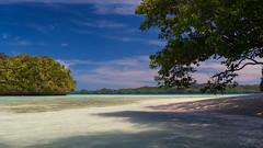 Rock Island Scenic Beach (Warriorwriter) Tags: ocean blue sea beach water landscape scenery paradise day cloudy palau pw oceania koror rockislands