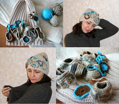 Knitted hat with crochet freeform design (natalie_kova) Tags: fun handmade crochet hats freeform coolhats freeformcrochet funhats crochetdesign  interestinghats handmadedesign     crochetfreeformdesign hatfreeform      freeformdecor