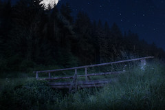 Bridge-in-Moonlight (Chri Stall Klar) Tags: moon lake nature water night photoshop canon stars landscape see lowlight photographie sigma wideangle nighttime 1770 compositing langzeitbelichtung weitwinkel nightfromday photocollabo