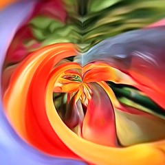 Flower Power: contorted  Bird of Paradise flower (ArtsySFMarjie) Tags: red orange abstract flower bird art yellow paradise power birdofparadise tiny planet flowerpower app iphoneapp tinyplanetapp iphoneappprocessing