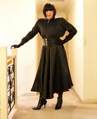 Black Night (2) (Furre Ausse) Tags: black leather belt dress boots skirt blouse gloves satin cincher governess gouvernante