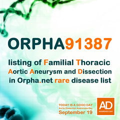 Aortic Dissection Awareness Day September 19 orpha91387 (T Sderlund) Tags: dna strand molecular helix chemistry micro gene render life code biotechnology cgi technology molecule illustration stem biology genome background human medical clone genetically graphic genetic microscopic scientific research spiral science biochemistry chromosome cell structure 3d aortic dissection awareness day september 19 aorticdissection awarenessday september19 aorticdissectionawarenessday raredisease ftaad aorticaneurysm orpha91387 orphanet rare disease rarediseases maladies sllsyntadiagnoser rarediseaseday familialaorticdisease aorticdisease aorta