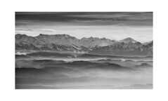 Out There (Dario Antonaci) Tags: white mist black mountains alps art nature monochrome fog landscape switzerland nebel fine berge alpen epic