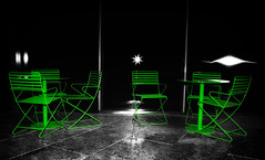 Green with Envy (beelzebub2011) Tags: bw canada green monochrome vancouver chairs britishcolumbia tables selectivecolor