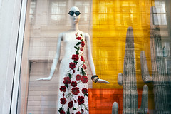 Reflections of a SoHo Mannequin (Wes Bender) Tags: nyc newyorkcity color mannequin floral sunglasses md dress minolta zoom soho streetportrait shades metropolis frock bender wes arrangement refections urbanfashion 3570 mirrorless sonya7r2