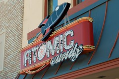 Atomic Candy (dangr.dave) Tags: architecture downtown neon texas tx historic spaceship neonsign rocketship denton dentoncounty atomiccandy