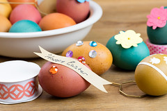 Easter Egg Decorating Tools (Transient Eternal) Tags: wood flowers blue people orange holiday color green art colors yellow kids easter children table fun spring stones stickers craft tint bowl celebration decorating eggs ribbon dye decorate oval hunt activities hardboiled