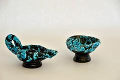 snakeskin candleholder and small bowl (dekker@dekker) Tags: france ceramics interior bowl pottery candleholder kom ceramique snakeskin keramiek vallauris kandelaar
