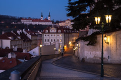 Prague at Sunrise (romanboed) Tags: street leica old city morning night sunrise town lowlight europe cityscape republic czech prague small hill prag praha praga m monastery quarter bluehour 50 bohemia summilux lesser mala asph petrin praag 240 strahov strana cesko