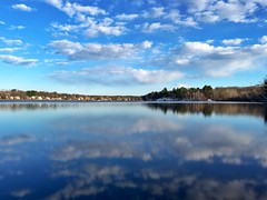 Long exposure on iPhone ((Jessica)) Tags: longexposure blue reflection water beautiful boston mobile clouds reflections ma pond massachusetts newengland calm pw woburn iphone hornpond iphoneography slowshuttercam iphone6s
