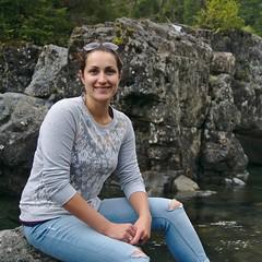 Creek posing (dVaffection) Tags: portrait green water girl rock creek forest river tofino