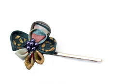 Green Orchid bobbpin. Kimono fabric. (Bright Wish Kanzashi) Tags: original flower handmade clip hairpin kanzashi tsumamizaiku