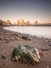Rock bottom (Andrew H-W) Tags: city uk sunset london water thames river season landscape spring rocks soft time tripod hard places lee nd filters canarywharf graduated 2016 1stop 2stop imagetype andrewhaywardwills
