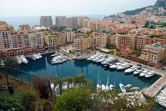 Fontvieille harbour from Monaco-Ville (zawtowers) Tags: birthday blue sea vacation holiday weather boats warm break looking harbour sunday sunny down monaco april palais fontvieille moored principality 2016 monacoville princier