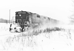 Just Another Winter Day....in 1979 (ac1756) Tags: winter snow cold michigan windy sooline soo 1979 troutlake emd sd402 782 soosubdivision