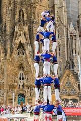 Castell in Barcelona (Luca Quadrio) Tags: barcelona travel tower festival spring spain europe colours modernism catalonia gaudi catalunya colourful es sagradafamilia castellers spagna castell humantower
