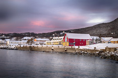 Red sunset (Danny VB) Tags: winter sunset red sea sky snow seascape canada clouds canon eos village hiver january québec 6d redsunset 2016 percé