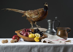 Stilleven (Mary Berkhout) Tags: stilllife apple pheasant nuts stilleven appel lemons onions grapes tincan kan noten schaal fazant druiven uien citroenen maryberkhout