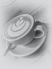 Morning Coffee (MacBeales) Tags: wood morning white apple cup coffee milk back pattern drink grain frothy cappuccino pickmeup saucer iphone