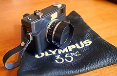 Customised Olympus 35RC - Soft Bag & Finger Loop. (wontolla1 (Septuagenarian)) Tags: camera film analog 35mm lens loop finger rangefinder olympus radical hood 135 range finder upgrade changed recovered pimped customised upgraded 35rc radically