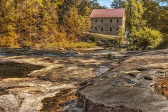 Sell's Mill in Jackson County, GA (drazanm) Tags: park trees building mill water wheel architecture creek river outdoors rocks stream antique rustic nopeople manmade watermill