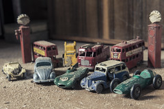 The Collector (sj9966) Tags: dusty vintage toys decay taxi shell rusty collection jaguar astonmartin matchbox collector doubledecker dinky londonbus diecast lesney